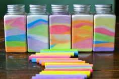 Make colored sand art by stirring a chalk stick in a bowl of salt. It changes the color. Stir less for light color and more for dark richer color.
