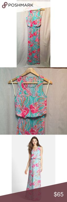 MILLS RACERBACK LILLY PULITZER JELLYFISH MAXI Size XS 100% cotton  A comfortable elastic waist creates a blouson effect for an airy slub-cotton maxi dress covered with one of Lilly Pulitzer's vivacious sea-inspired prints. Gathers at the racerback effectively showcase the shoulders.  Gently used from a good home Slips on over head Machine wash cold, tumble dry low Lilly Pulitzer Dresses Maxi