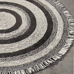 Crocheted Rug Pattern is Round with Stripes ...