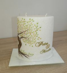 Wedding candle with tree # wedding tree # wedding # bride Tree Wedding, Wedding Bride, Pillar Candles, Creative, Google, Napkins, Lisa, Weddings, Candles
