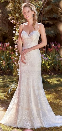 Rebecca Ingram - KARLA, Delicate lace motifs cascade over dotted tulle in this wedding dress.