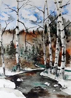Title: Winter River Medium: Van Gogh watercolor paints Size: 9 x 12 Canvas: Canson 140 lb Cold-press paper. Acid-Free This painting is signed Van Gogh Watercolor, Watercolor Trees, Watercolor Landscape, Landscape Art, Landscape Paintings, Watercolor Paintings, Watercolours, Art Aquarelle, Winter Landscape
