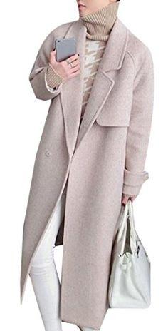 f66f08886fd Highisa Women Woolen Skinny Turn Down Collar Jacket Trenchcoat Slim Peacoat  Pink L Best Winter Coats USA