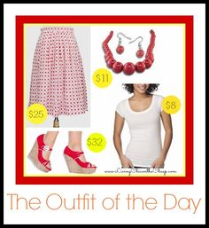 The Outfit of the Day is up! (6-16-13)  Vintage-Inspired Red & White print Skirt, tee, Wedge Sandals, Bubble earrings and necklace.  http://livingchiconthecheap.com/the-outfit-of-the-day-10/