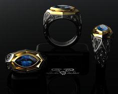 Cigar Band Ring. 14k european gold black silver. by DeMerJewelry