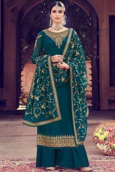 Pakistani #Dresses , Designer #Pakistani Teal blue Georgette Palazzo Suits #Online UK - #Shopkund Style Palazzo, Palazzo Suit, Bollywood Dress, Bollywood Fashion, Churidar, Art Marron, Satin Bleu, Embroidery Suits Design, Hand Embroidery