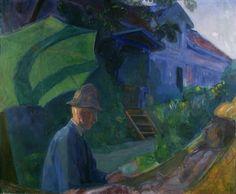 Thorvald Erichsen (Norwegian 1868-1939), Gudrun i hengekøyen [Gudrun in the Hammock], 1916. Oil on canvas, 125,5 x 150,5 cm