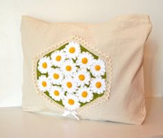 Daisies flowers tote bag Canvas Tote bag by Lemiecreazionidarte