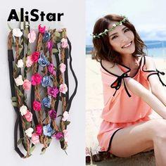 Fashion Headbands For Women Summer Beach Flower Headbands Elastic Hair Stickers Floral Bride Garland Hair Jewelry #JH036 www.peoplebazar.net    #peoplebazar