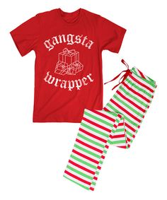Look at this Red 'Gangsta Wrapper' Tee & Stripe Pajama Pants on #zulily today!