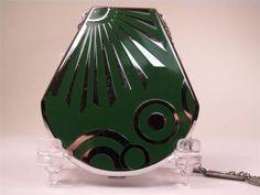 Very Art Deco Elgin American Green & Silver Compact Vanity Dance Purse Vintage Makeup, Vintage Vanity, Vintage Beauty, Vintage Ads, Compact, American Green, Lipstick Case, Solid Perfume, Vintage Handbags