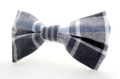 Blue and White Plaid Bow Tie Barrette by Scrapcycling on Etsy, $15.00