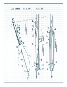 This is a Patent Print for a Underwater Spear Gun. It was invented by Okada, Douglas and it was issued on January 1990 by the United States Patent and Trademark Office. Diy Crossbow, Survival Weapons, Patent Prints, Poster Prints, Posters, Underwater, Guns, How To Plan, Archery