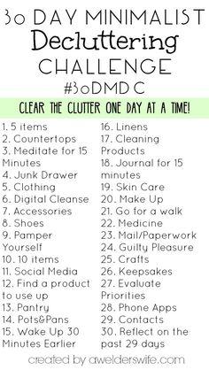 30 Day Minimalist Decluttering Challenge | www.awelderswife.com #30DMDC