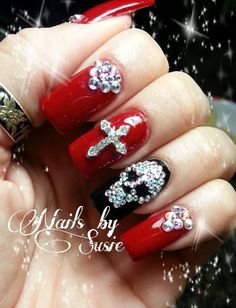 Red, black, rhinestones, skull, cross..