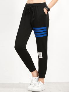 Shop Black Striped Trim Beam Port Pants online. SheIn offers Black Striped Trim Beam Port Pants & more to fit your fashionable needs.