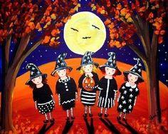 Five Little Witches Whimsical Folk Art by reniebritenbucher, $21.00