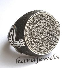 925 Sterling Silver Islamic Ring for Men with by KaraJewelsTurkey