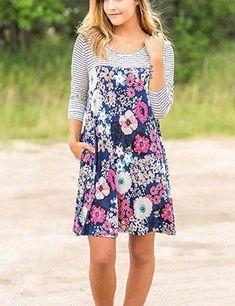Minipeach Women Summer 3 4 Sleeve Floral Print A-Line Knee Length Casual T Shirt Dress