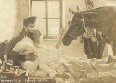 Todo Equinos México  Esta es una vieja foto de un soldado moribundo durante la Primera Guerra Mundial, que insistió en ver a su caballo antes de su muerte. ¡Qué conmovedor ejemplo de la extraordinaria relación entre un hombre y su caballo!    By: Equine News Today