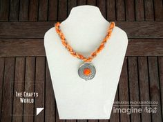 Wear the sun on you with a summer tangerine colored piece of jewelry. Braided cord in two sizes colored with warm, sunny colors creates a thicker marine like rope. The silver round charm, hanging on the braided ropes, has a bright center matching the thick cord and shines like the sun. The cords are colored …