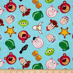 Disney Emojiland Toy Story Character Toss Blue from @fabricdotcom  Designed by Disney and licensed to Springs Creative Products, this cotton print fabric is perfect for quilting, apparel and home decor accents. Colors include black, pink, white, blue and green. Due to licensing restrictions, this item can only be shipped to USA, Puerto Rico, and Canada.