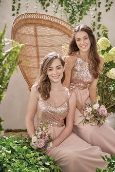 Pretty Rose Gold Bridesmaid Dresses combined with a Peach chiffon skirt