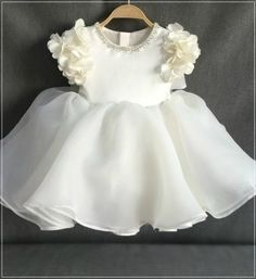 Girly Shop's Off White Beautiful Beaded Applique Round Neckline Floral Cap Sleeve Tea Length Big Bow Back Baby Infant Toddler Little & Big Girl Flower Dress