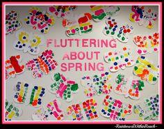 Bulletin Board for Spring Butterfly Preschool Art, symmetric paintings