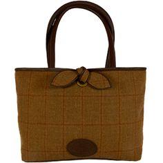 Country Cognac 'Bow Shopper Bag' in Brown Tweed