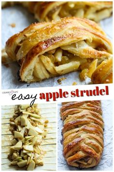 This easy Apple Strudel is filled with cinnamon, brown sugar, raisins and more! It's a crispy, flaky pastry that's easy to make and downright delicious. #applestrudel #applestrudelrecipe #strudelrecipe #strudel #bakedapples #bakedapplesrecipe #appledessert #applerecipe Easy Apple Strudel Recipe, Strudel Recipes, Baked Apple Slices, Baked Apples, Fruit Recipes, Apple Pie Recipes, Apple Desserts, New Dessert Recipe, Dessert Recipes