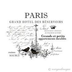 Paris French Hotel Chandelier Birds Instant by WingedImages Vintage Labels, Vintage Ephemera, Graphics Vintage, Illustration Paris, Diy Image, French Typography, Images Vintage, Vintage Paris, Transfer Paper