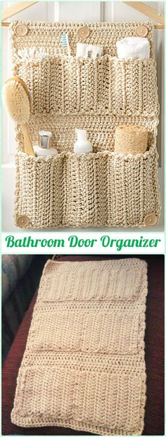 Crochet Bathroom Door Organizer Free Pattern - SO handy if you're short on space!