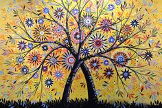 Abstract Modern Flowers Garden Art ... Flowering Tree Painting