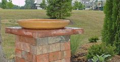 Donna at Funky Junk Interiors  is having a theme party on birdbaths and I thought I would revisit an oldie and feature mine!   When we moved... Brick Projects, Garden Projects, Garden Ideas, Funky Junk Interiors, Outdoor Ideas, Outdoor Spaces, Outdoor Living, Robins, Stress Relief
