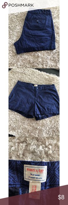 Gap Chino Shorts Size 12 Chino style shorts by Gap.  Dark blue with black geometric pattern.  Size 12.  Good condition.  Important:   All items are freshly laundered as applicable prior to shipping (new items and shoes excluded).  Not all my items are from pet/smoke free homes.  Price is reduced to reflect this!   Thank you for looking! GAP Shorts