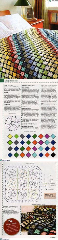 New crochet granny square pattern mini Ideas Crochet Afghans, Crochet Motifs, Crochet Quilt, Crochet Home, Love Crochet, Crochet Crafts, Crochet Projects, Knit Crochet, Crochet Patterns