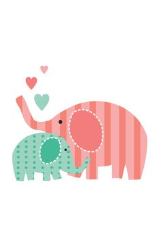 Items similar to Nursery Wall Art, Children's Art Print, Nursery Decor - Mommy and Baby Elephant -many sizes and colors available on Etsy