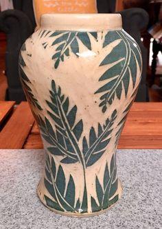 Vintage Carved Fern Leaves Studio Pottery Vase Signed Wells Impressed Marked S?