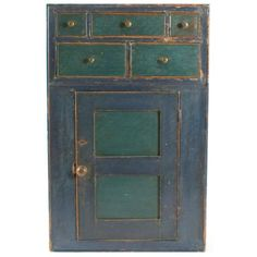 c1810 Blue and Green Pine Painted Hanging Cupboard   From a unique collection of antique and modern decorative art at https://www.1stdibs.com/furniture/wall-decorations/decorative-art/