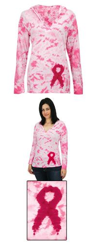 Tie Dye Pink Ribbon Hooded Tee at The Breast Cancer Site