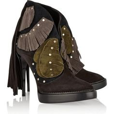 Burberry Prorsum Lilybell Fringed Suede Ankle Boots as seen on Rosie Huntington-Whiteley