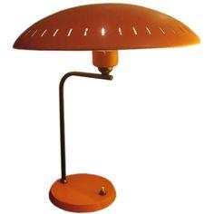 Louis Kalf, orange table lamp for Philips, 1950s.  France  circa 1950's
