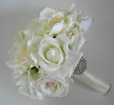Gardenia Bridal Bouquet | Gardenia and Rose Real Touch Bridal Bouquet in ... | Gardenias...They ...