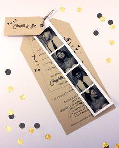 Camille 2 z'ailes E | Faire-part Photomaton Vintage – Bal champêtre Fanion