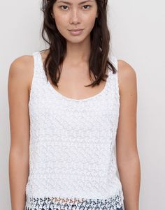 Pull&Bear | Top crop crochet blanc 19€99