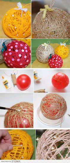diy, diy projects, diy craft, handmade, diy decorated thread ball na Dekoracyjnie - Zszywka. Christmas Art, Christmas Wreaths, Christmas Decorations, Christmas Ornaments, Diy And Crafts, Crafts For Kids, Navidad Diy, Yarn Ball, Diy Weihnachten
