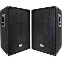 Seismic Audio - - Pair of Powered PA / DJ Speaker Cabinets with Titanium (Silver) Horns (Pack of Powered Pa Speakers, Home Audio Speakers, Thing 1, Black Carpet, 2 Way, Loudspeaker, Horns, Horn