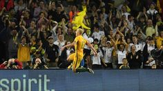 Aaron Mooy of the Socceroos celebrates scoring a goal during the 2018 FIFA World Cup Qualification match between the Australian Socceroos and Jordan at Allianz Stadium on March 29, 2016 in Sydney Australia. (Photo by
