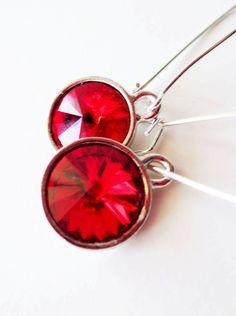 Cherry red rivoli earrings.  Long dangle silver by LittleBearsMom, $22.00